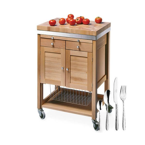 Eddingtons The Pewsey Solid Beech Kitchen Trolley with FREE Gift