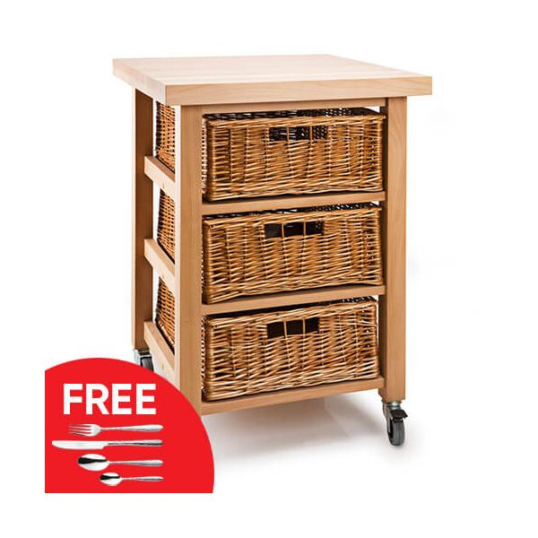 Eddingtons Lambourn Vegetable 3 Basket Kitchen Trolley with FREE Gift