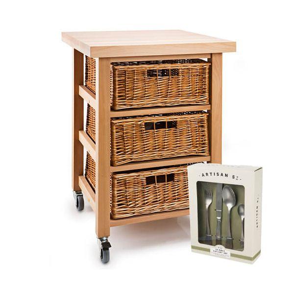 Eddingtons Lambourn Vegetable 3 Basket Kitchen Trolley with FREE Gift