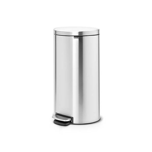 Brabantia FlatBack+ Space Saving 30 Litre Pedal Bin Matt Steel Fingerprint Proof