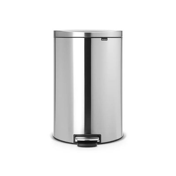 Brabantia FlatBack+ Space Saving 40 Litre Pedal Bin Fingerprint Proof Matt Steel