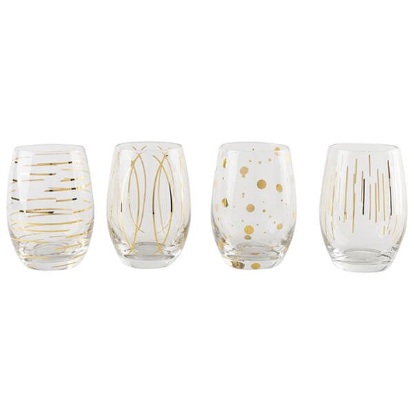 Mikasa Cheers Metallic Gold Set Of 4 Stemless 16.5oz Wine Glasses