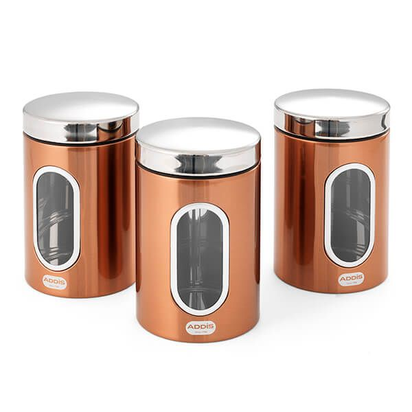 Addis Copper 3 Piece Canister Set