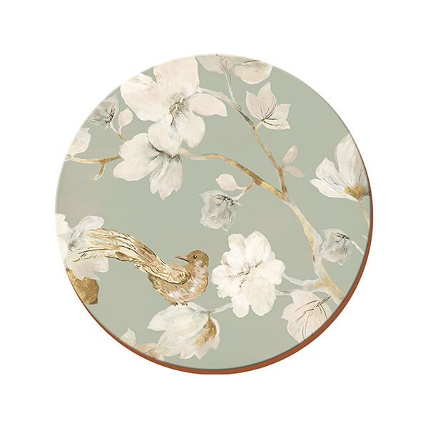 Creative Tops Duck Egg Floral Pack Of 4 Round Premium Placemats