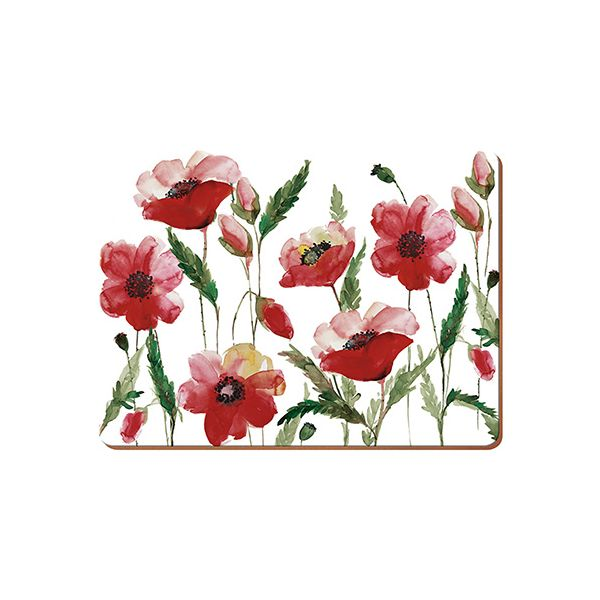 Creative Tops Watercolour Poppy Set Of 6 Premium Table Mats
