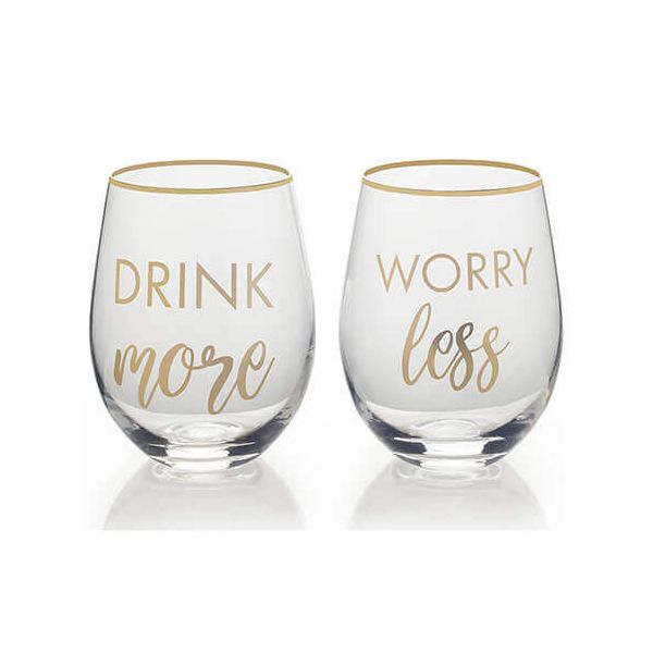 Mikasa Drink More Worry Less Set Of 2 Stemless Wine Glasses