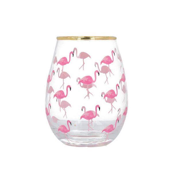 Ava & I Flamingos Stemless Wine Glass