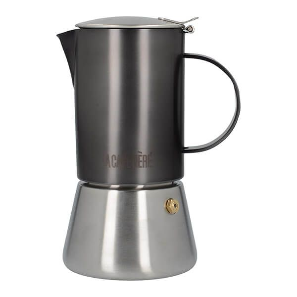 La Cafetiere Edited 4 Cup Stainless Steel Stovetop Espresso Maker Gun Metal Grey