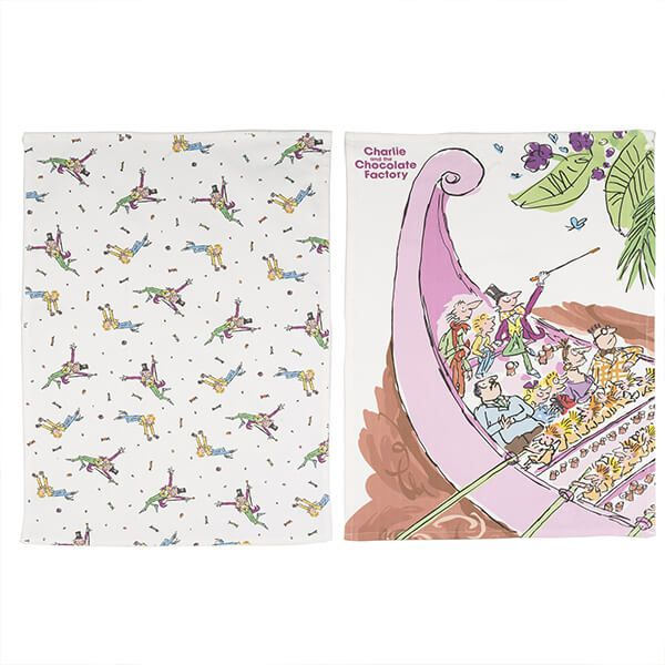 Roald Dahl Charlie And The Chocolate Factory Set Of 2 Tea Towels