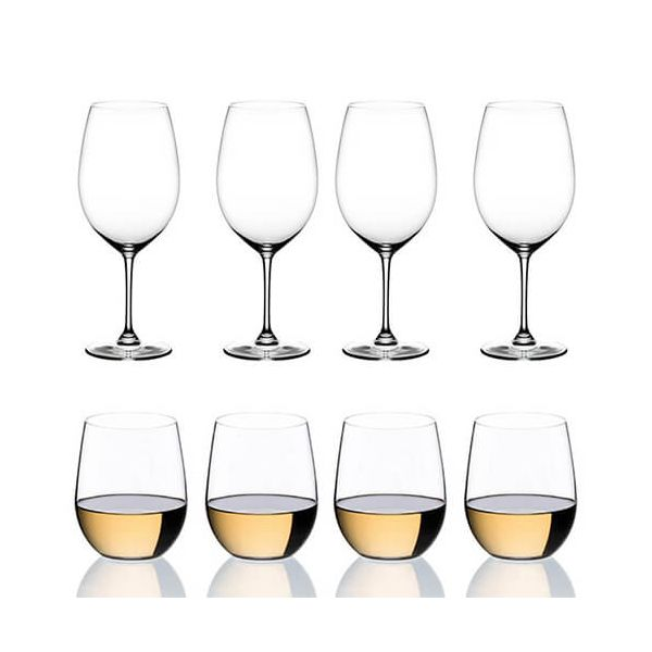 Riedel Vinum Cabernet Merlot & O Viognier / Chardonnay Glasses Set Of 8