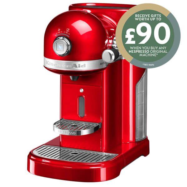 KitchenAid Artisan Nespresso Empire Red Coffee Maker with FREE Gift