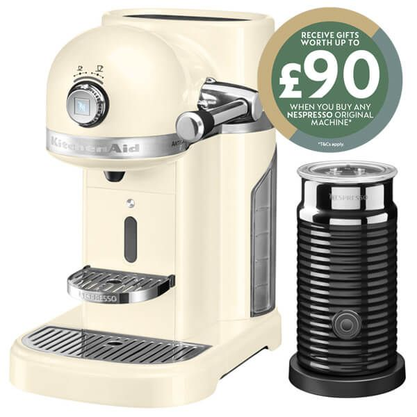 KitchenAid Artisan Nespresso Almond Cream Coffee Maker & Aeroccino 3 with FREE Gifts