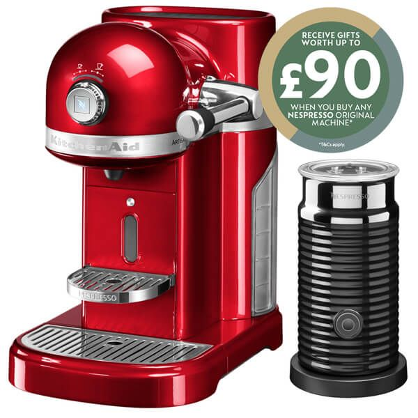 KitchenAid Artisan Nespresso Candy Apple Coffee Maker & Aeroccino 3 with FREE Gifts