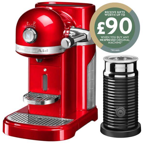 KitchenAid Artisan Nespresso Empire Red Coffee Maker & Aeroccino 3 with FREE Gift