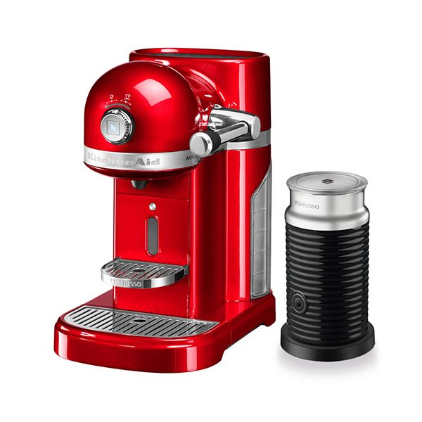 KitchenAid Artisan Nespresso Empire Red Coffee Maker & Aeroccino 3