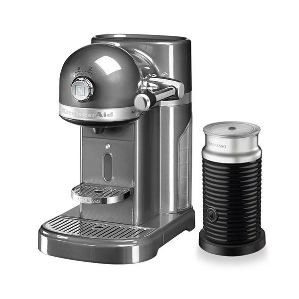 KitchenAid Artisan Nespresso Medallion Silver Coffee Maker & Aeroccino 3