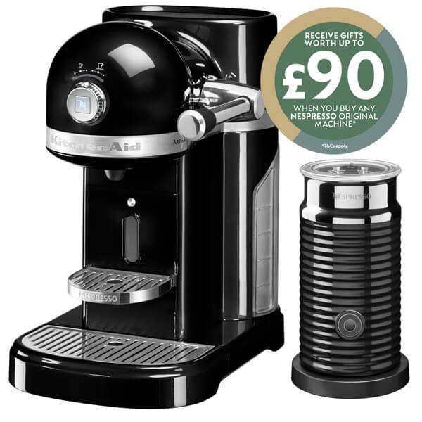 KitchenAid Artisan Nespresso Onyx Black Coffee Maker & Aeroccino 3 with FREE Gift
