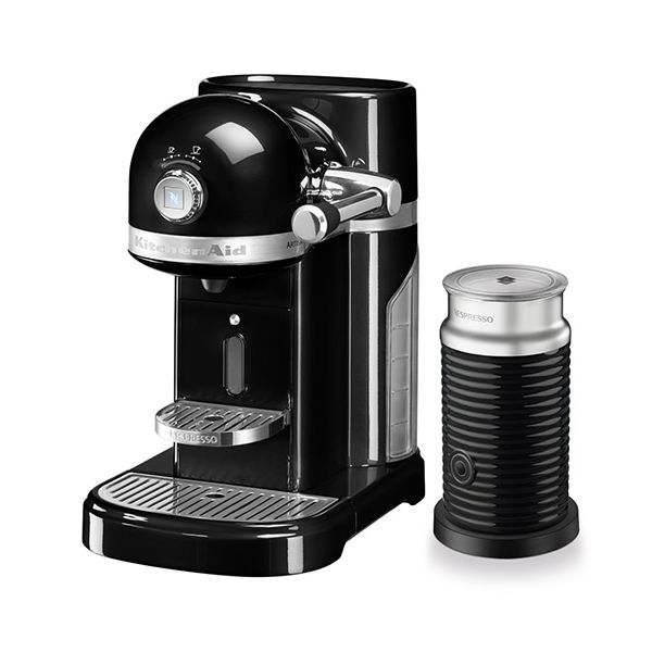 KitchenAid Artisan Nespresso Onyx Black Coffee Maker & Aeroccino 3