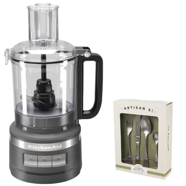 KitchenAid 2.1L Charcoal Grey Food Processor with FREE Gift