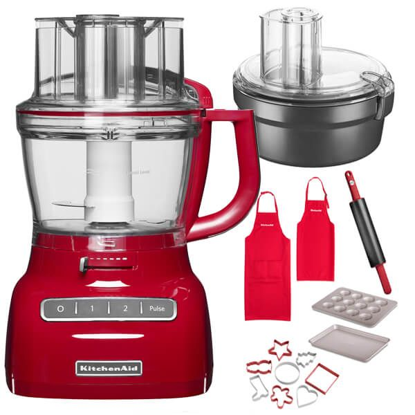 KitchenAid 3.1L Empire Red Food Processor with FREE Gifts