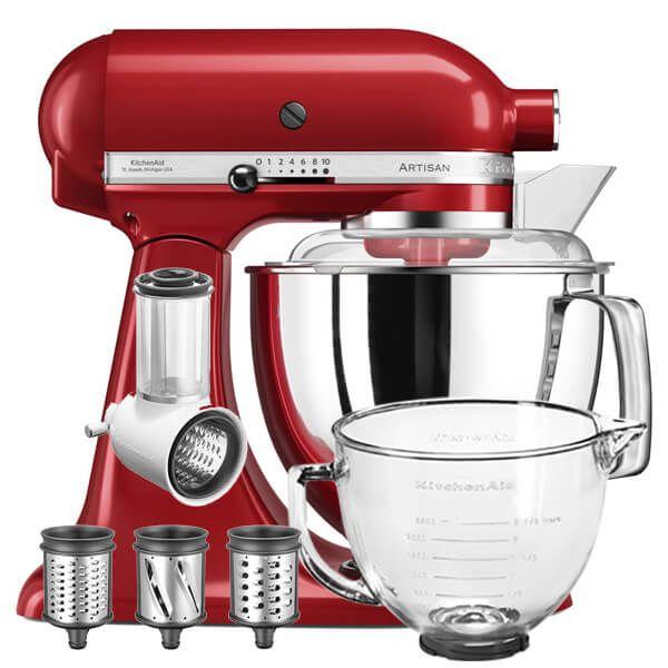 KitchenAid Artisan Mixer 125 Empire Red Fresh Prep Bundle With FREE Gift