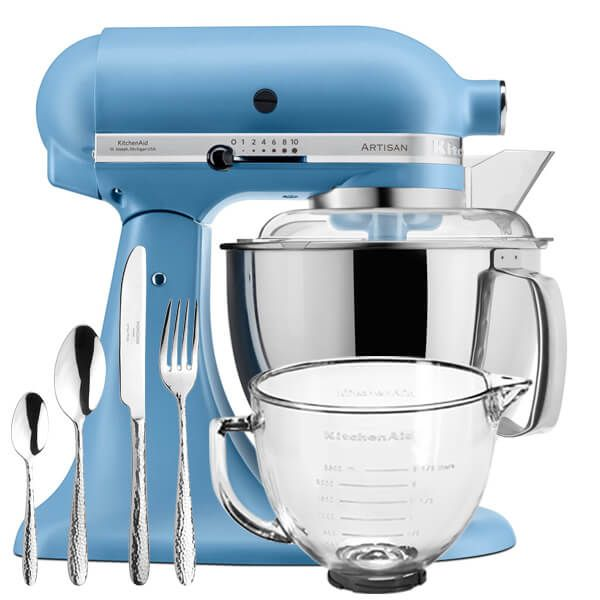 KitchenAid Velvet Blue Artisan 4.8L Stand Mixer With FREE Gifts