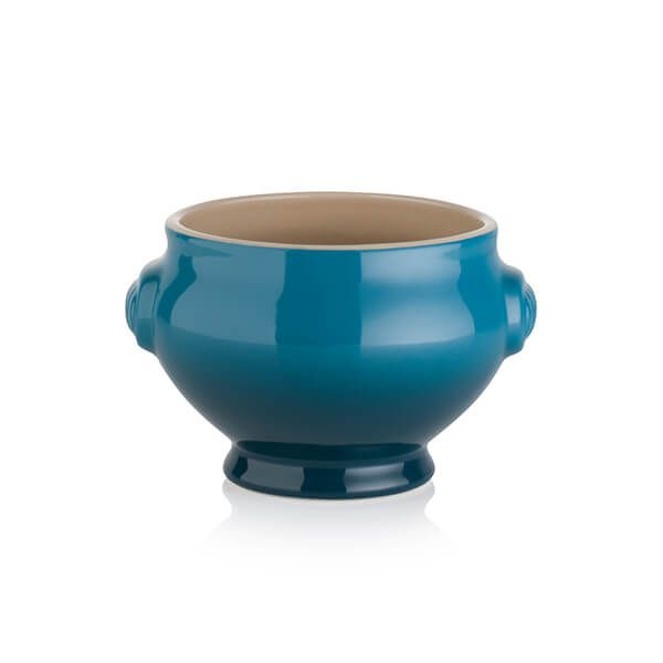 Le Creuset Deep Teal Stoneware Lion Head Soup Bowl