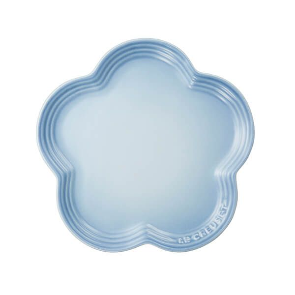 Le Creuset Coastal Blue Stoneware Flower Plate