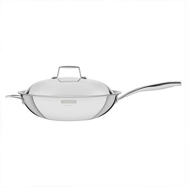 Tramontina Grano 32cm 3-ply Stainless Steel Wok with Lid