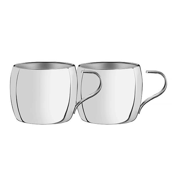 Tramontina Double Walled Cappuccino Stainless Steel Cups Pack Of 2