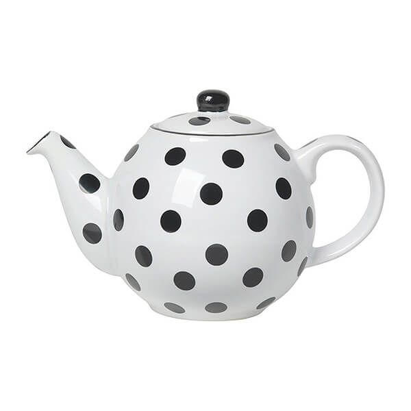 London Pottery Globe 2 Cup Teapot White With Black Spots