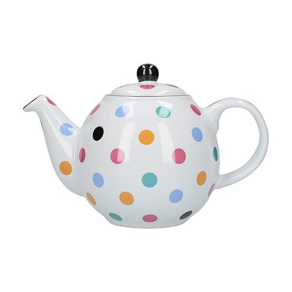 London Pottery Globe 2 Cup Teapot White Multi Spot