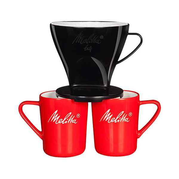Melitta Standard Black Filtercone 1x4 & 2 Porcelain Mug Set