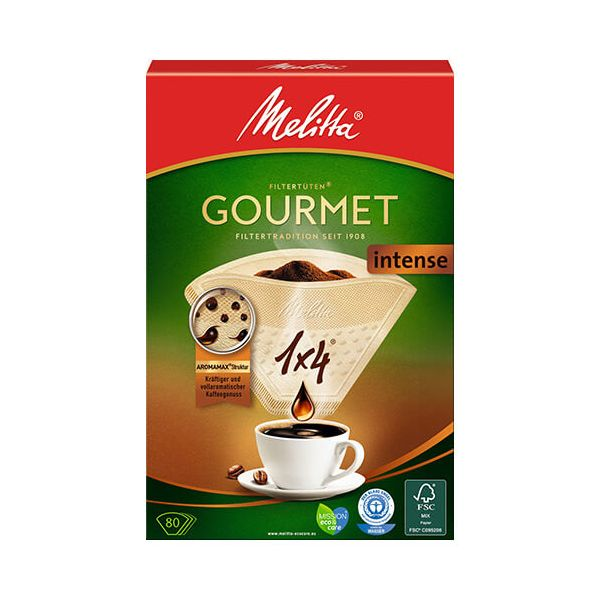 Melitta Gourmet Intense Coffee Filters 1x4 Pack Of 80