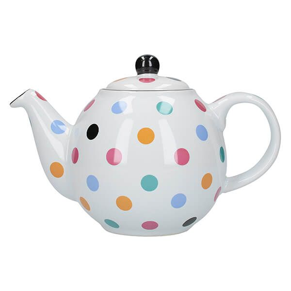 London Pottery Globe 6 Cup Teapot White With Multi Spots