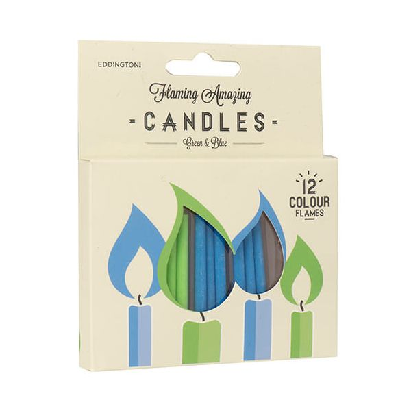 Eddingtons Green & Blue Flaming Amazing Candles Pack Of 12