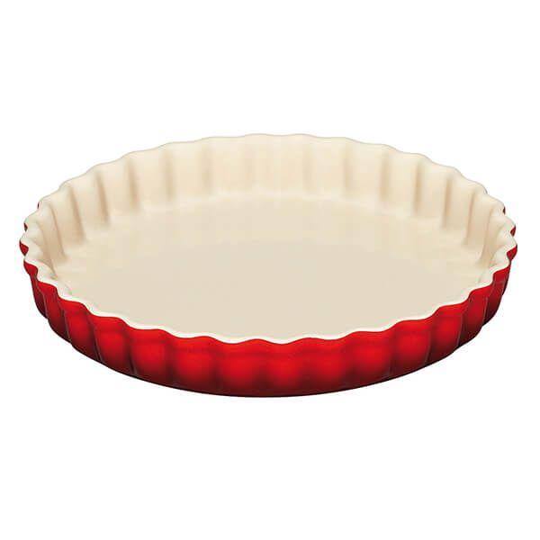 Le Creuset Cerise Stoneware 28cm Fluted Flan Dish