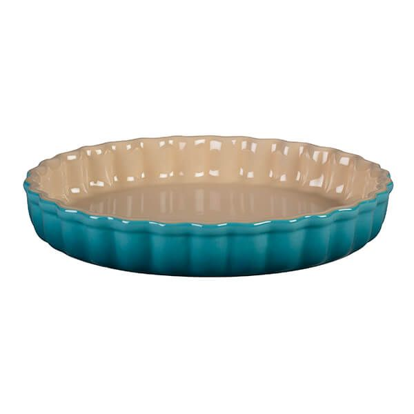Le Creuset Teal Stoneware 28cm Fluted Flan Dish