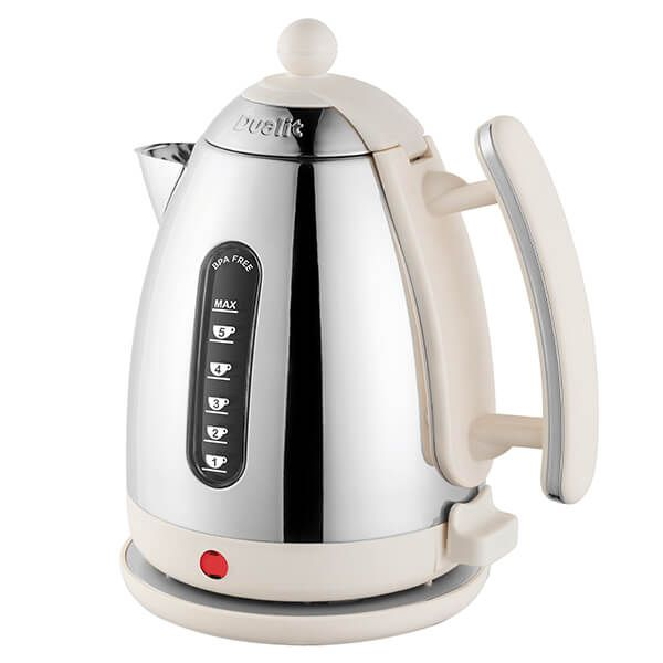 Dualit Polished Chrome Jug Kettle With Canvas White Trim