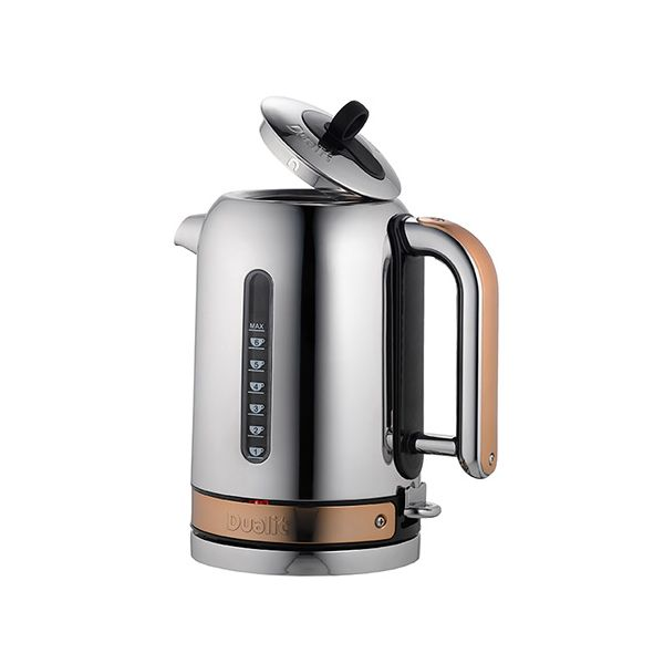 Dualit Classic Kettle Polished Stainless Steel and Copper Trim with FREE Gift