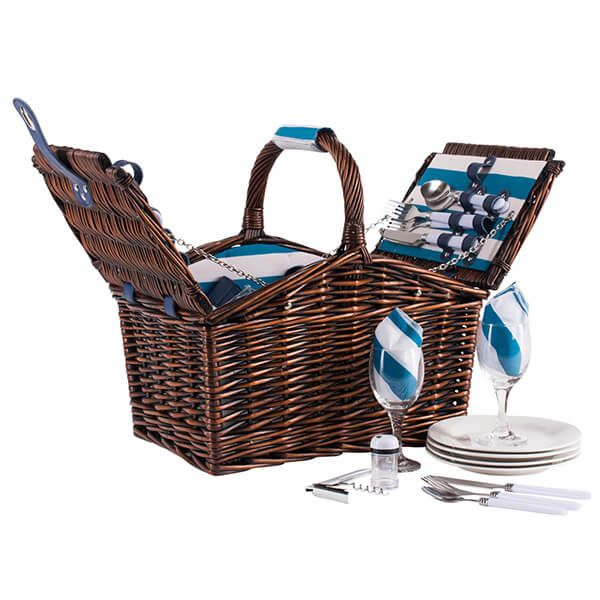 Navigate Coast 4 Person Wicker Basket Aqua