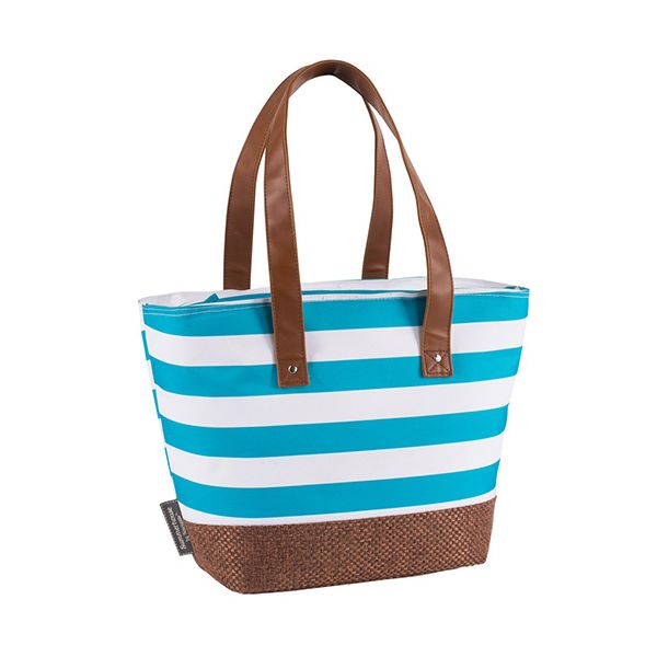 Navigate Coast Insulated Shoulder Tote Aqua And White