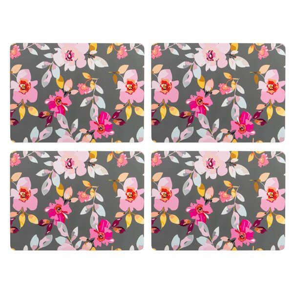 Navigate Gardenia Placemats Grey Floral Set of 4