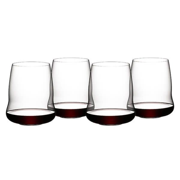 Riedel Stemless Wings 265 Year Anniversary Cabernet / Merlot Wine Glass Set Of 4