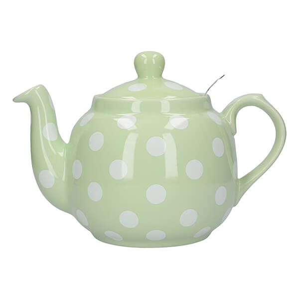 London Pottery Farmhouse Filter 4 Cup Teapot Peppermint With White Spots