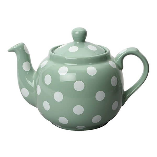 London Pottery Farmhouse Filter 4 Cup Teapot Green With White Spots