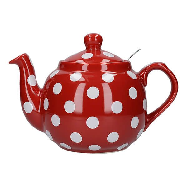 London Pottery Farmhouse Filter 4 Cup Teapot Red With White Spots
