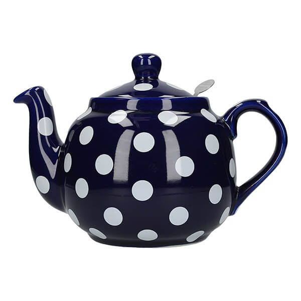 London Pottery Farmhouse Filter 4 Cup Teapot Blue With White Spots