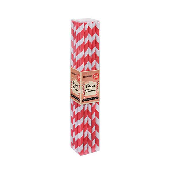 Eddingtons Paper Straws Red 25 Pack