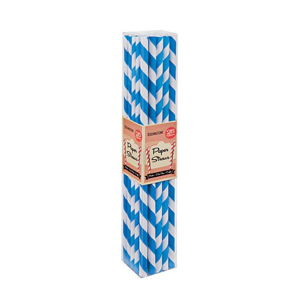 Eddingtons Paper Straws Blue 25 Pack